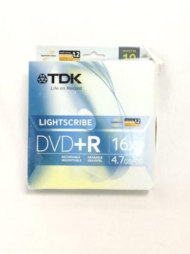 TDK 16X DVDplusR Lightscribe 10 Pack