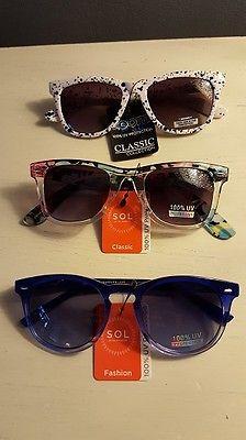 Women's  Fashion Sunglasses Classic  Multi Color  Blue Black White, Lot of 3