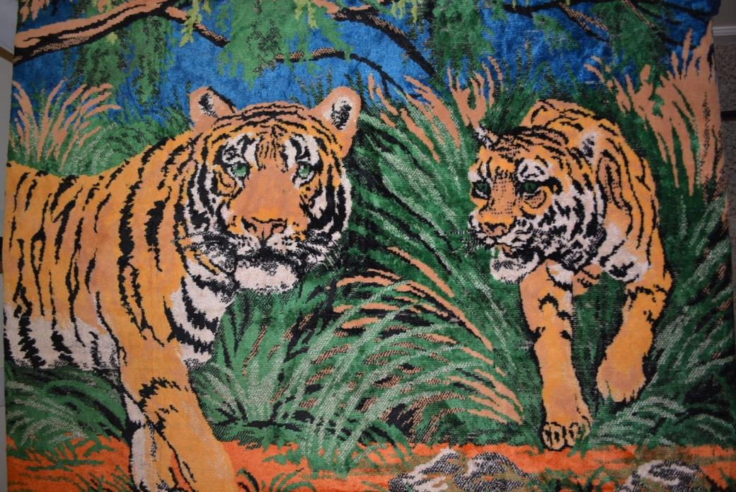 Vintage Tapestry Tiger in Jungle Scene Large Wall Picture Floor Decor 67