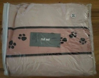 Full Pink 4T Full Sheet Set Dog Cat Paw Print Pink White Black (NEW)