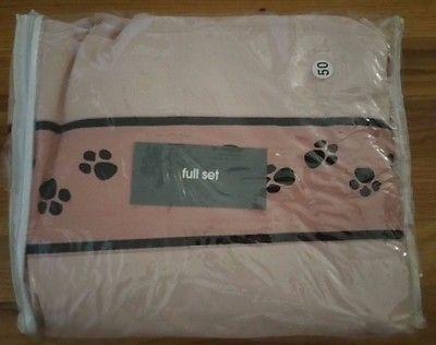 Full Pink 4T Full Sheet Set Dog Cat Paw Print Pink White Black (NEW)