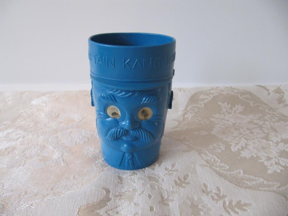 Vintage CAPTAIN KANGAROO ROBERT KEESHAN Blue Plastic Drink Cup with GOOGLY EYES