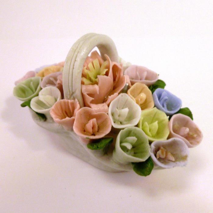 Vintage Ceramic Flowers Basket Vase