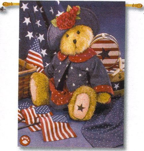Americana Bear Fine Art Tapestry Patriotic 4th of July Decoration Wall Art Decor