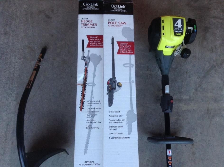 Ryobi 4 cycle gas trimmer with attachments