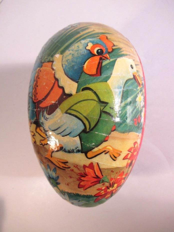 LARGE VINTAGE WEST GERMAN PAPIER MACHE CANDY CONTAINER EASTER EGG HEN/DUCK 6