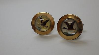 Vintage pair of Essex Crystal 'Flying Duck' Cufflinks Gold Tone
