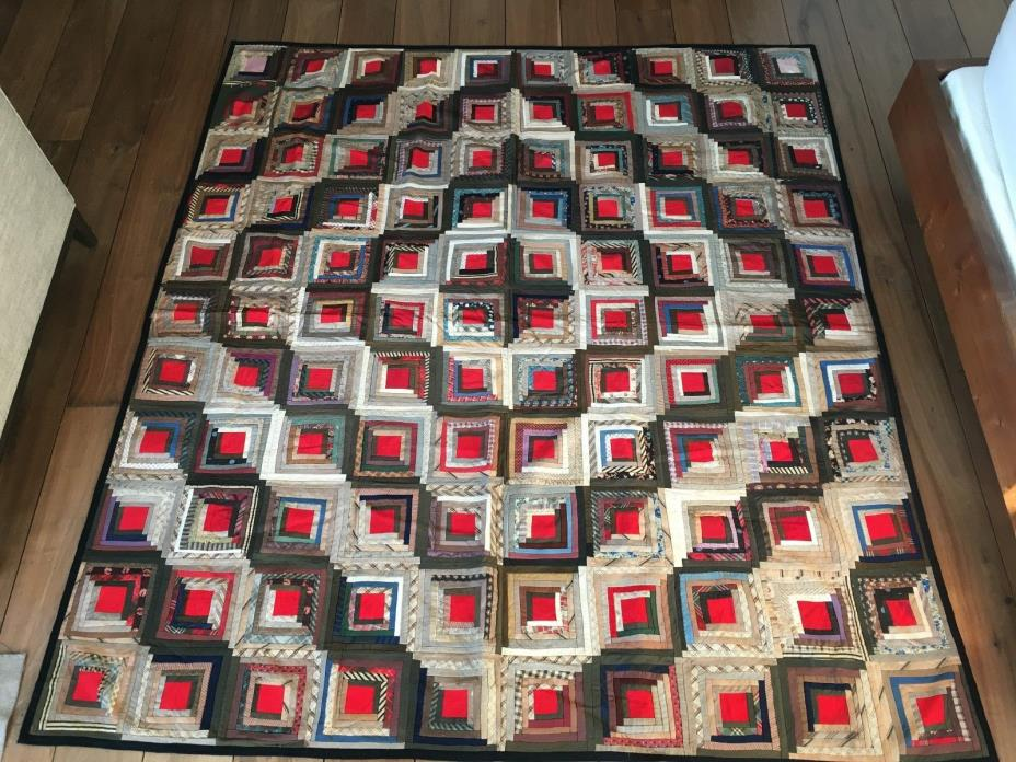 Vintage Magnificent Log Cabin Hand Sewn Quilt