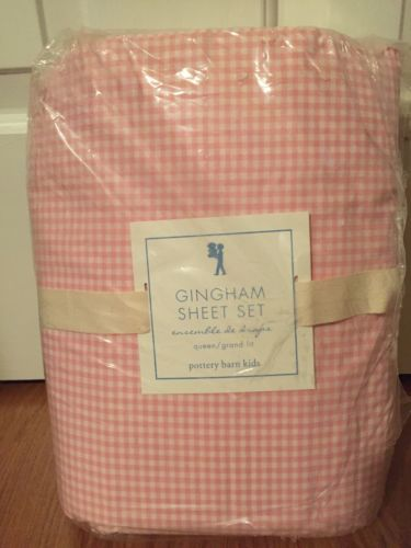 NEW Pottery Barn Kids Gingham LIGHT PINK  Sheet Set  QUEEN