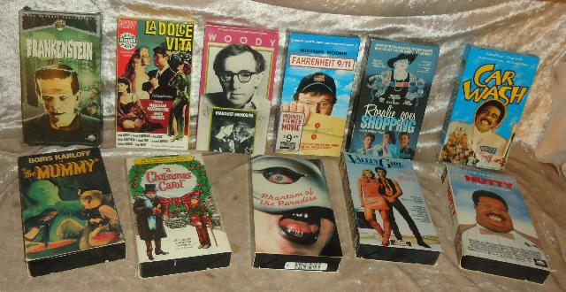 3 Boxes of Vhs Tapes Pre-Recorded & Recorded Home