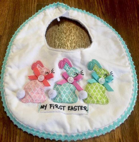 *Mud Pie*Spring Baby Girl/Boy??My First Easter Bunny Bib??GUC
