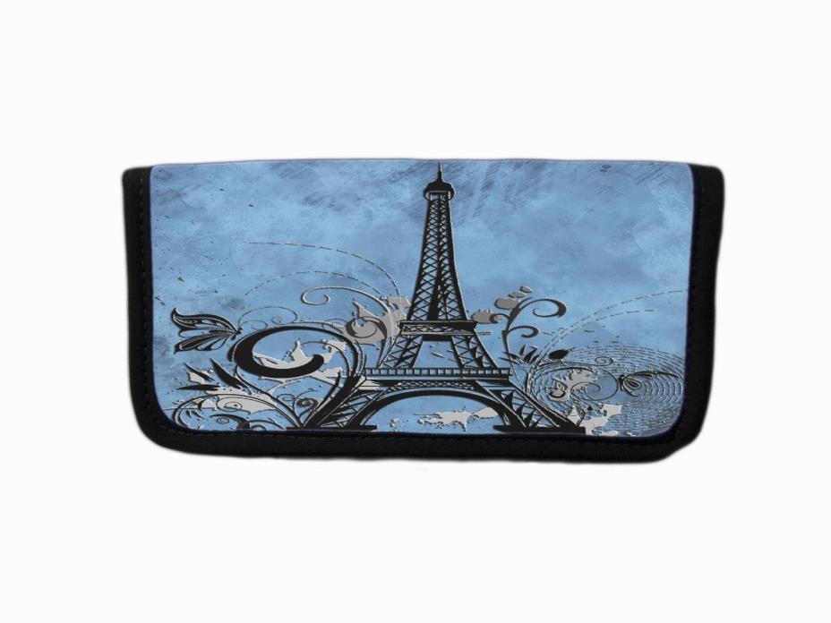 BLUE GRUNGE EIFFEL TOWER PARIS SILHOUETTE GRAPHIC FABRIC CHECKBOOK COVER HOLDER