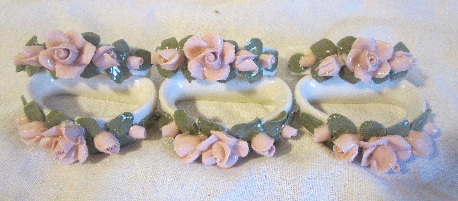6 Bavarian Germany Napkin Rings with Applied Roses