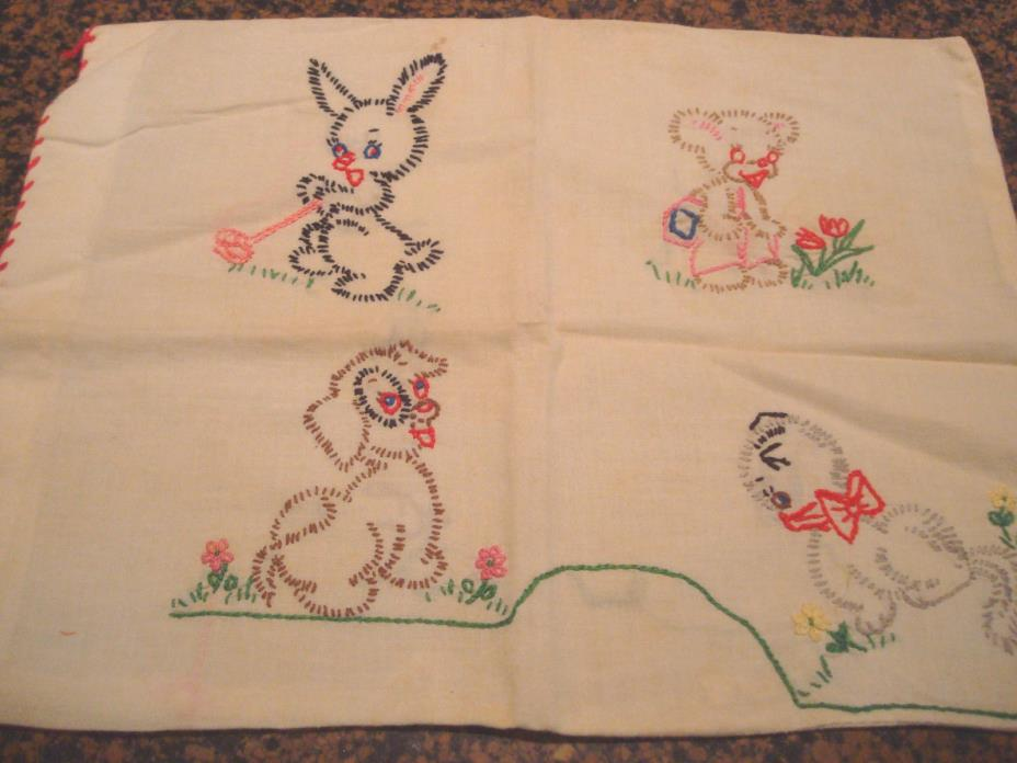 VINTAGE HANDMADE BABY'S PILLOW CASE COVER EMBRODIARY WORK 15X12