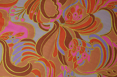Vintage 60s 70s Psychedelic Floral Cotton1 yard 31