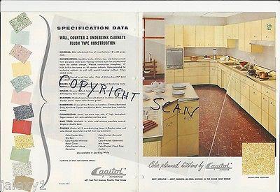 1956 CAPITOL Color All Steel KITCHEN Cabinet Units PINK AQUA Yellow Vtg Catalog