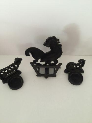Cast Iron Rooster Kitchen Set 3 pc. Salt & Pepper & Napkin Holders