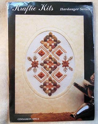 Kraftie Kits Card Stitch Sewing Basket Hardanger Sampler Kit England Caron NEW