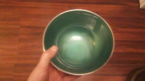 Towle Silversmiths Silverplate EP 5003 Green ENAMEL Foooted Bowl  Iridescent