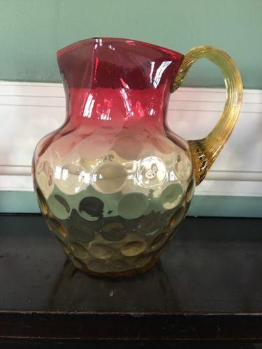 Antique Rubina Vaseline Art Glass Water Pitcher