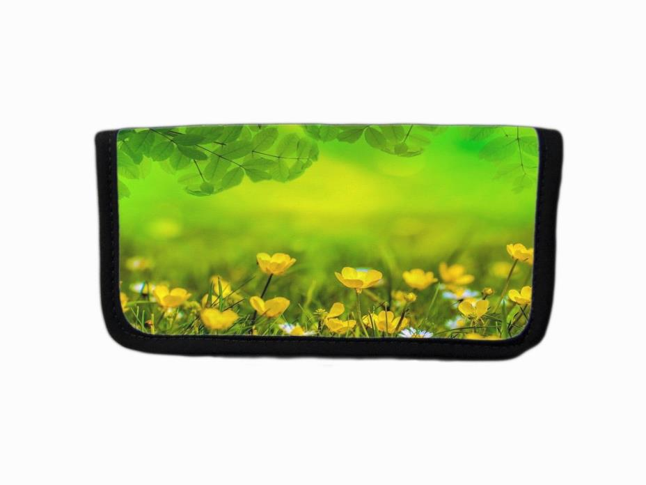 DELICATE YELLOW FLOWERS & FOREST MEADOW IMAGE FABRIC CHECKBOOK COVER HOLDER