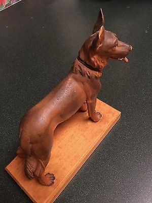 ANTIQUE ANRI CARVED WOODEN FIGURINE OF A GERMAN SHEPARD