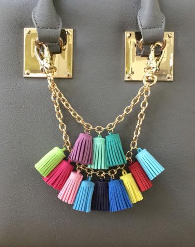 Handbag charm choker pendant necklace Collorful Tassel fringe bag purse jelwery