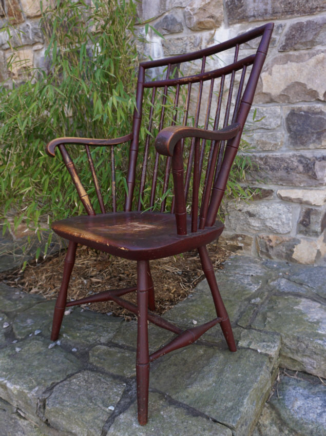 Early New England square-back Windsor arm chair crusty red paint over original