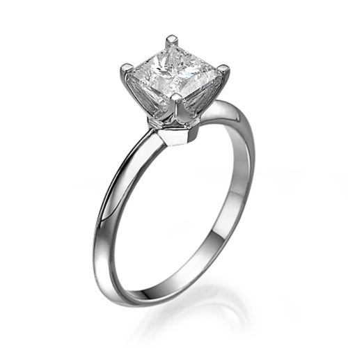 2 Carat Princess Cut Enhanced Diamond Engagement Ring D/SI1 18K White Gold