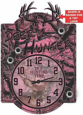 Pink Deer Hunter Wall Clock Sign