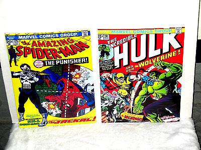 Marvel Comics Spiderman #129  Incredible Hulk #181 Punisher Wolverine Posters