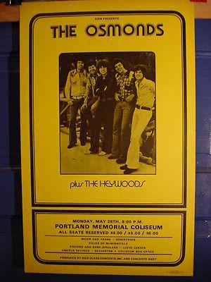 SCARCE OSMONDS Concert Poster Portland Memorial Coliseum '73 Heywoods EX COND.