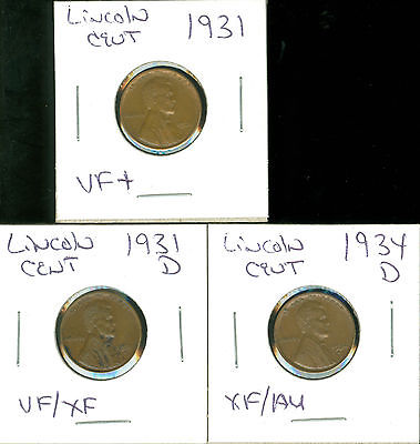 LINCOLN CENTS - 1931 - 1931 D & 1934 D - 3 COINS