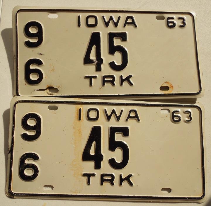 Pair 1963 Iowa Truck License Plate 96  #45 Original