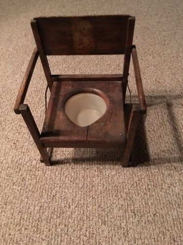 Potty Chair, Folding, Wood Antique