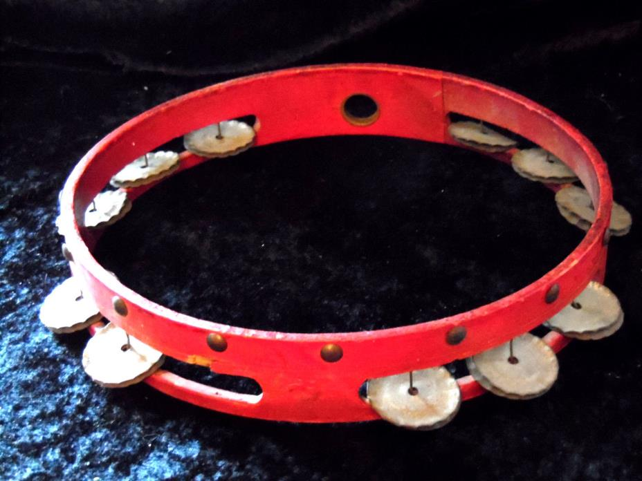 Vintage Red Civil War Gettsyburg Tambourine Hand Crafted Musical Instrument