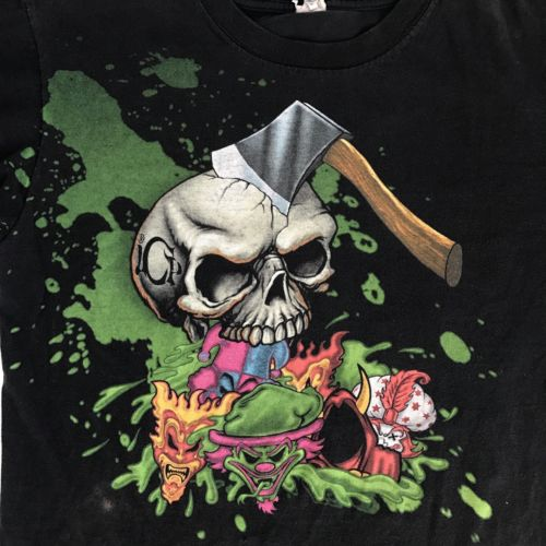 Vintage Insane Clown Posse Tshirt Axe Skull Band Shirt Clown