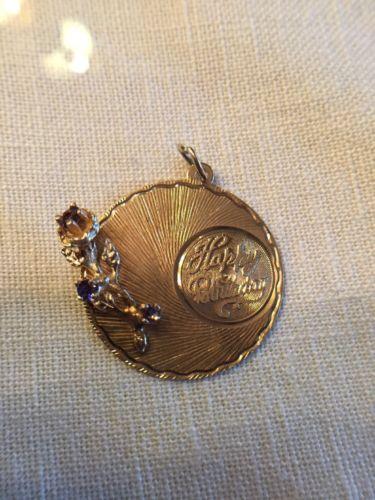 14K Gold Retro Vintage 50s 60s HAPPY BIRTHDAY FLOWER Amethyst Pendant Charm 3.2g