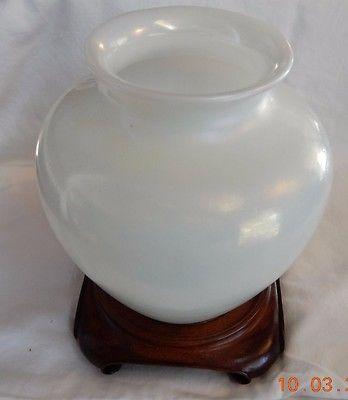 Large Antique Carder Steuben Ivrene Vase, Signed,  Includes Wooden Base