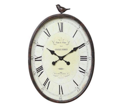 Classic, Indoor, Home Decor Oval Wall Clock with Bird