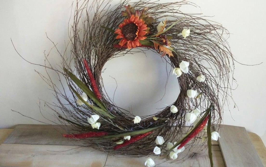 AUTUMN/THANKSGIVING/SEASONAL GRAPE VINE WREATH