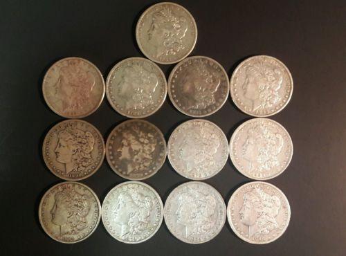 Lot of thirteen Morgan Silver Dollars