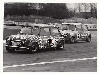 MINI CHRIS LEWIS RACING CAR No.100, FOLLOWED BY CAR No.3 RACING PHOTOGRAPH.