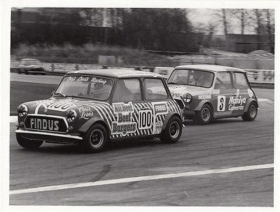 MINI CHRIS LEWIS RACING CAR No.100, FOLLOWED BY CAR No.3 RACING PHOTOGRAPH.