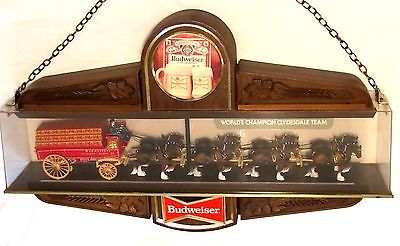 Vtg 1979 BUDWEISER BEER CLYDESDALE BEER WAGON 2-sided 3-d TAVERN ADVERTISING