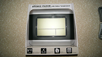 Infiniti Group International  Atomic Digital Wall Clock with Indoor Temperature,