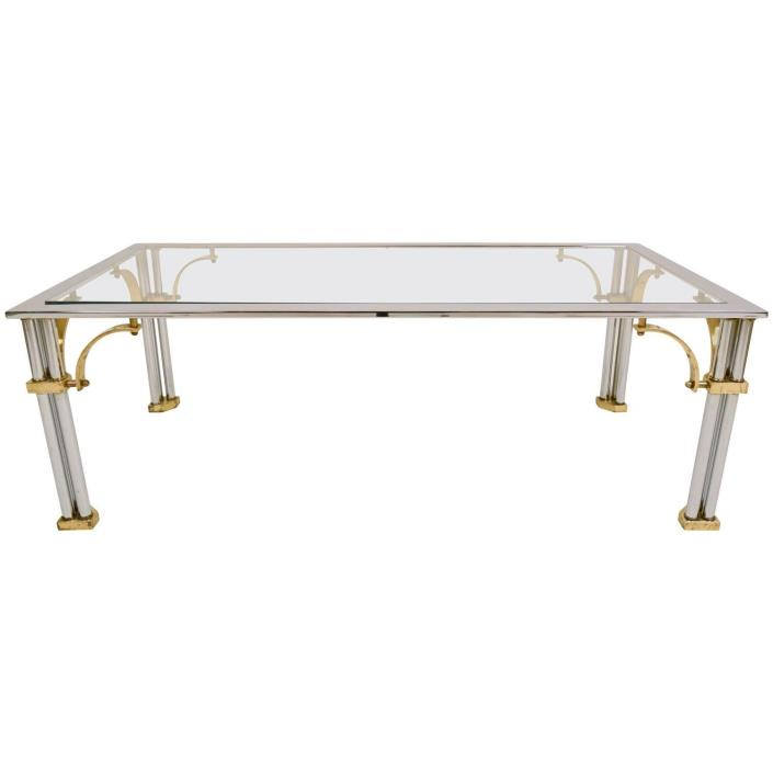 Mid-Century Modern Coffee Table Chrome and Brass Frame with Glass Top
