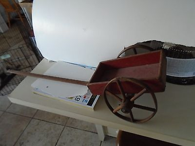 PULL ALONG WOODEN WAGON OLD RED PAINT LONG HANDLE