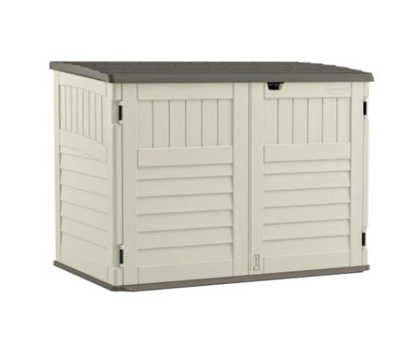 Stow-Away Resin Horizontal Storage Shed Storage Cabinet Garden Outdoor Organizer