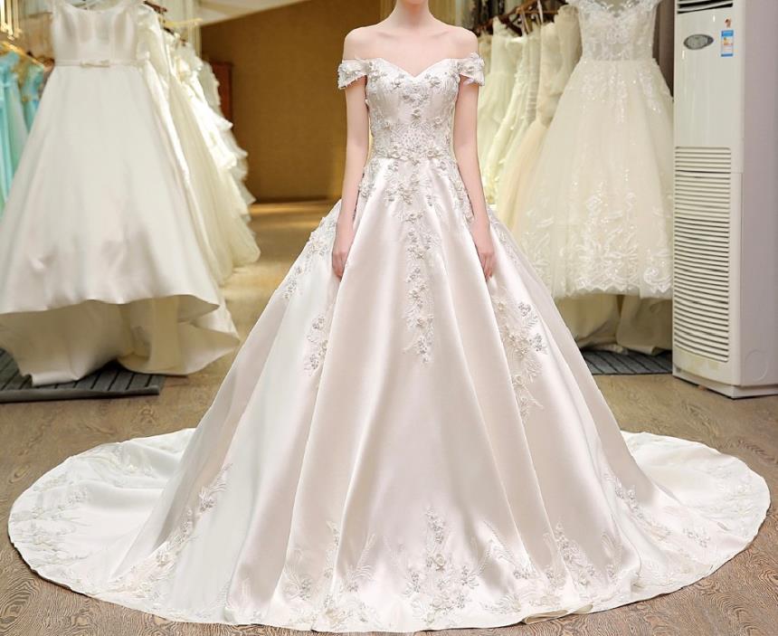 Meryl's A Line Satin Appliqu Wedding Gown